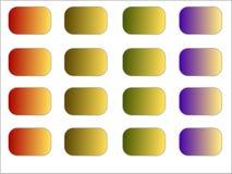 16 rengöringsdukknappar i olika färger - lutningar royaltyfri bild