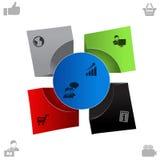 Rengöringsdukorientering, mall, knappar, objekt, baner för information, infographicsbeståndsdelar Arkivbilder