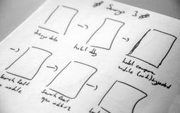 Rengöringsdukorienteringen skissar den pappers- boken, mobil, och rengöringsduken skissar Arkivbilder