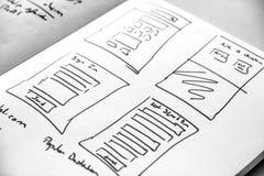 Rengöringsdukorienteringen skissar den pappers- boken, mobil, och rengöringsduken skissar Royaltyfria Bilder