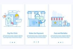 Rengöringsduksymboler för e-kommers och internetbankrörelsen Mall för mobilen app och webbplats Modern blåttmanöverenhetsUX UI GU royaltyfri illustrationer