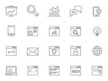 Rengöringsduksymboler för linje SEO och utvecklings royaltyfri foto