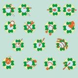 Rengöringsduksymboler i färg Fotografering för Bildbyråer