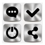 Rengöringsduksymboler på metalliska knappar ställde in vol 6 Royaltyfria Bilder