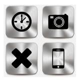 Rengöringsduksymboler på metalliska knappar ställde in vol 7 Royaltyfri Fotografi