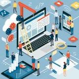 Rengöringsdukutveckling, grafisk design och marknadsföring stock illustrationer