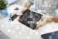 Rengöringsdukutveckling programmering Internet- och teknologibegrepp arkivbild