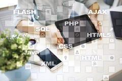 Rengöringsdukutveckling programmering Internet- och teknologibegrepp arkivbilder