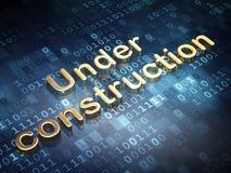 Rengöringsdukutvecklingsbegrepp: Guld- under-konstruktion Arkivbild