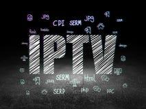 Rengöringsdukutvecklingsbegrepp: IPTV i mörkt rum för grunge Royaltyfri Bild