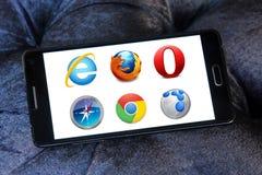 Rengöringsdukwebbläsaresymboler och logoer Fotografering för Bildbyråer
