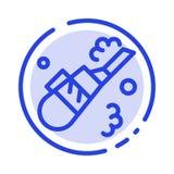 Rengöringsmedel lokalvård, vakuum, blå prickig linje linje symbol för rör royaltyfri illustrationer
