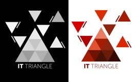 reng?ringsduk f?r jordklotlogovektor 'DET triangel ', Abstrakt triangellogo grå och röd logo royaltyfri illustrationer