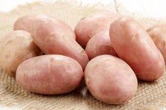 Rengjorda röda potatisar på jute Royaltyfri Fotografi