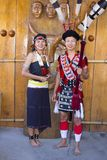Rengma部落男人和妇女Horbnill节日的 免版税库存图片