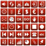 rengöringsduk för röd fyrkant för 3 knappar Royaltyfri Bild