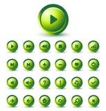 rengöringsduk för vektor för glansig grön symbol för applikationer set Royaltyfri Foto