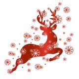 Renifer w czerwieni i śniegu, wektor Obrazy Royalty Free
