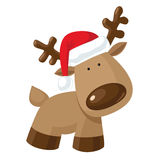Renifer w Santa ` s kapeluszu Zdjęcia Stock