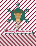 Reniferowa kartka bożonarodzeniowa Zdjęcia Stock