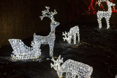 Reniferowi bożonarodzeniowe światła Fotografia Royalty Free