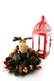 Reniferowi boże narodzenia i czerwony candel. Obraz Stock