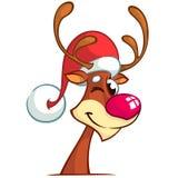 Reniferowy czerwony nos w Święty Mikołaj kapeluszu Wektorowa kreskówka Obrazy Stock