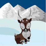 Reniferowy dziecko w śniegu Obrazy Royalty Free