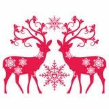 Renifery, serca i śnieg, ilustracja wektor
