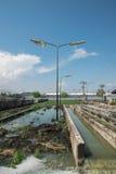 Reningsverk för avloppsvatten för väglampstolpe Royaltyfria Foton