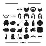 Renlighet, salong, frisör och annan rengöringsduksymbol i svart stil rengöringsmedel svamp, hygien, symboler i uppsättningsamling stock illustrationer