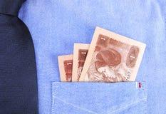 Renminbi в карманн Стоковые Изображения