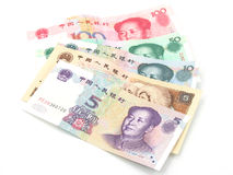 Renminbi, the currency note of china. In isolated white Royalty Free Stock Photography