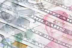 Renminbi en Dollarachtergrond Stock Afbeelding