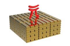 Renminbi on gold Royalty Free Stock Photo
