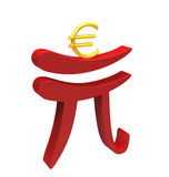 Renminbi helping euro Stock Photography