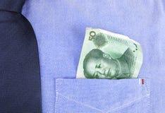 Renminbi in pocket Stock Photo