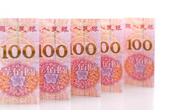 Renminbi. A row of china banknotes Royalty Free Stock Images