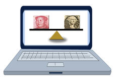 Renminbi versus US dollar on a scale Royalty Free Stock Photo