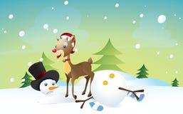Renna & pupazzo di neve allegri! Fotografie Stock Libere da Diritti
