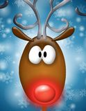 Renna cappottata rossa di Rudolph Fotografia Stock Libera da Diritti