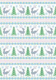 Renna con gli alberi di Natale ed i fiocchi di neve su un fondo bianco Fotografie Stock