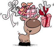Renna con i contenitori di regalo Fotografie Stock