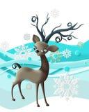 Renna con i fiocchi di neve Fotografia Stock