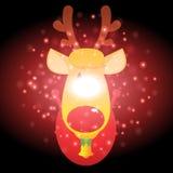 Renna con il Natale fondo ed il vettore della cartolina d'auguri Illustrazione di Stock