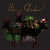 Renna con il Natale fondo ed il vettore della cartolina d'auguri Royalty Illustrazione gratis