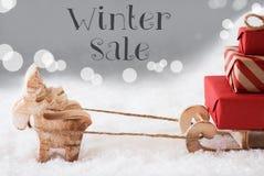 Renna con la slitta, fondo d'argento, vendita di inverno del testo Immagini Stock
