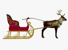 Renna del Babbo Natale con la slitta Fotografie Stock Libere da Diritti