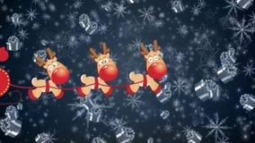 Renna del bob di Santa dei fiocchi di neve royalty illustrazione gratis