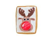 Renna del pan di zenzero di Natale con il naso rosso Fotografie Stock